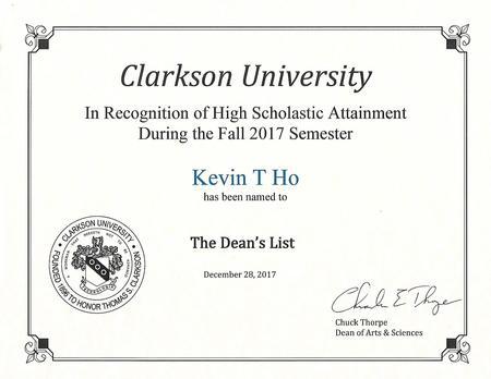 Deans list freshman semester 1
