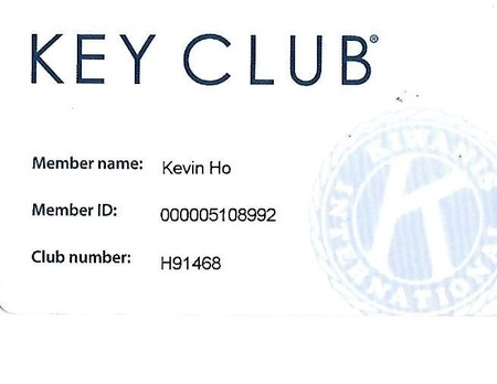 Key club memebership card