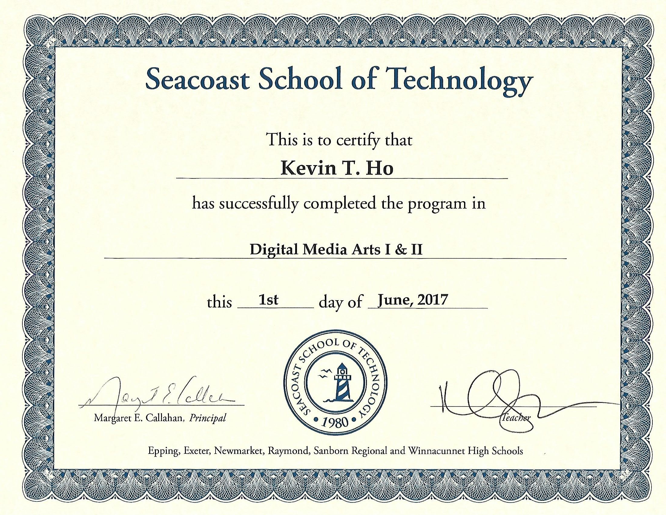 Digital media arts i ii completion