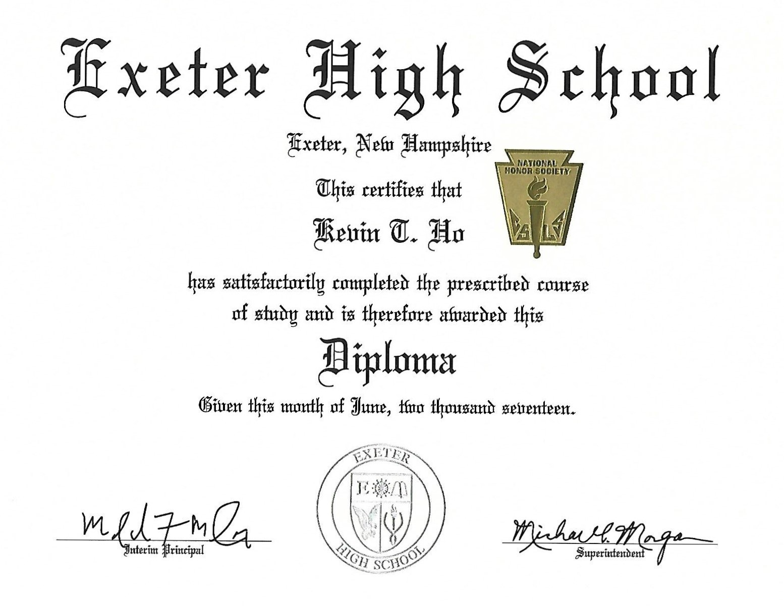 Exeter high school diploma