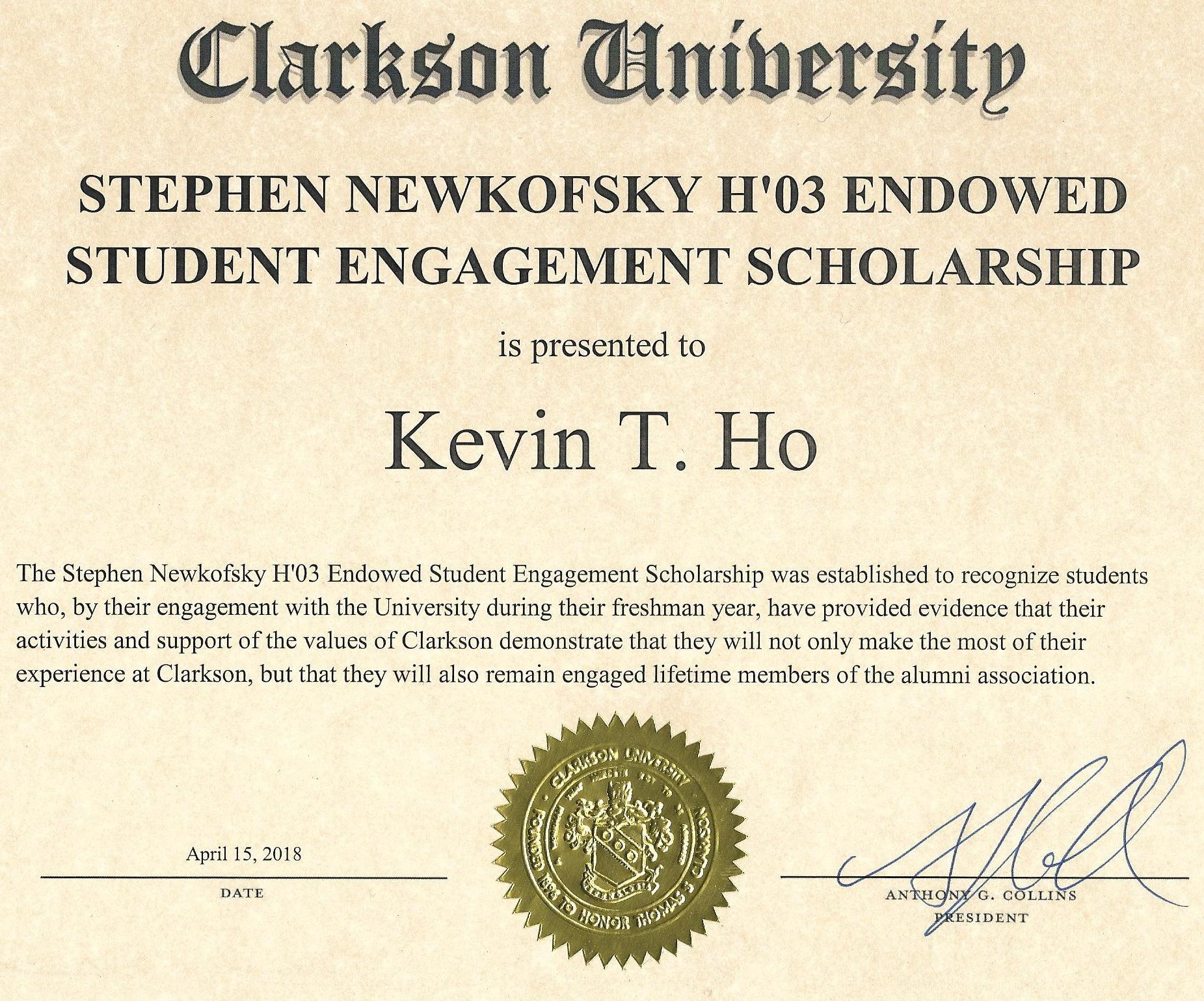 Stephen newkofsky endowed student enagagement scholarship