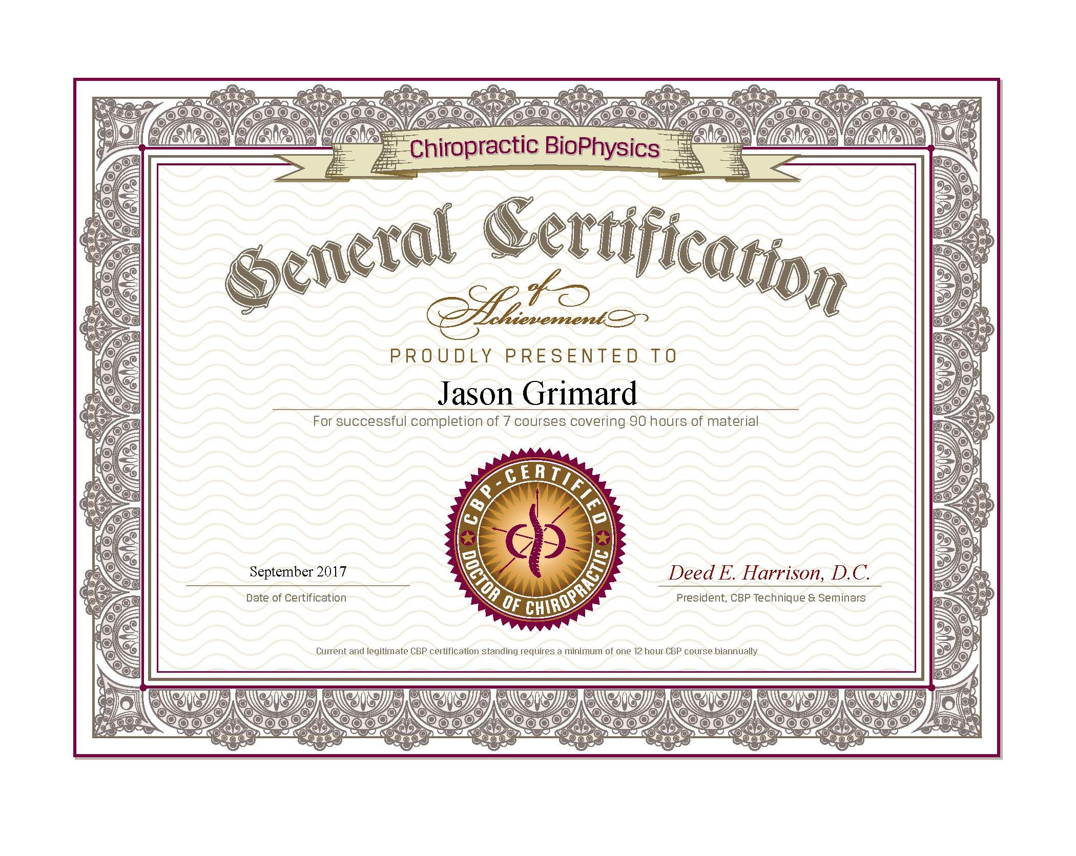 Jason grimard basic certified certificate