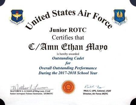 Outstanding cadet 2018