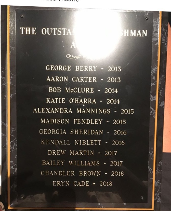 Ua outstanding freshman plaque