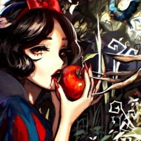 Snow white blue apple dark anime woods girl 9wf2