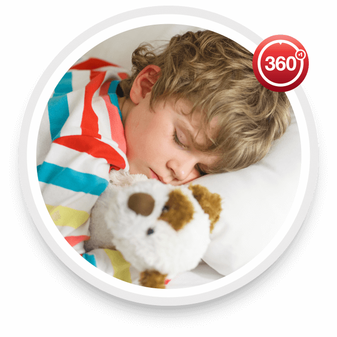 Child sleeping soundly with a Rheem furnace keeping his room warm.