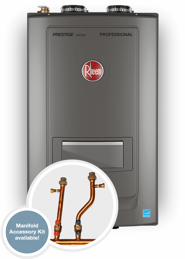 Close-up product picture of the Rheem combi boiler.