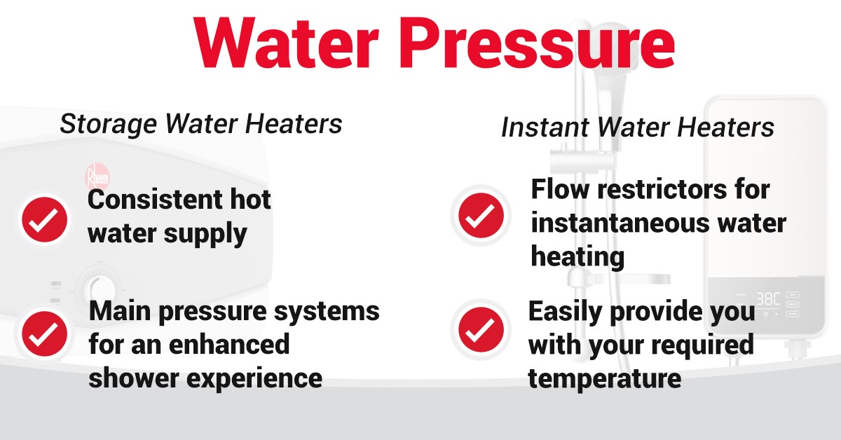 storage water heater vs. instant water heater