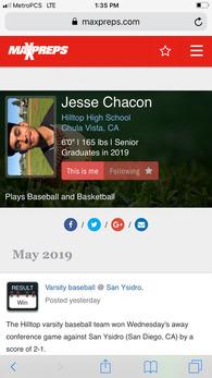Jesse Chacon's Baseball Recruiting Profile