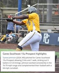 Tyrese Johnson's Baseball Recruiting Profile