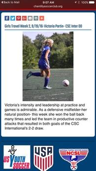 Victoria Partin's Women's Soccer Recruiting Profile