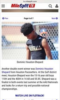 Dominick Houston -Shepard's Men's Track Recruiting Profile