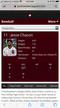 Jesse Chacon's Baseball Recruiting Profile
