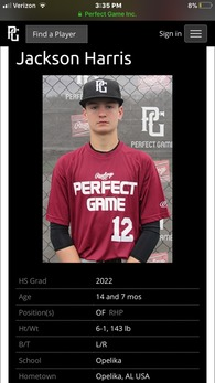 Jackson Harris's Baseball Recruiting Profile