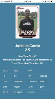 Jake Luis Garcia's Baseball Recruiting Profile