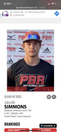 Jacob Simmons's Baseball Recruiting Profile
