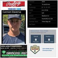 Cannon Daversa's Baseball Recruiting Profile