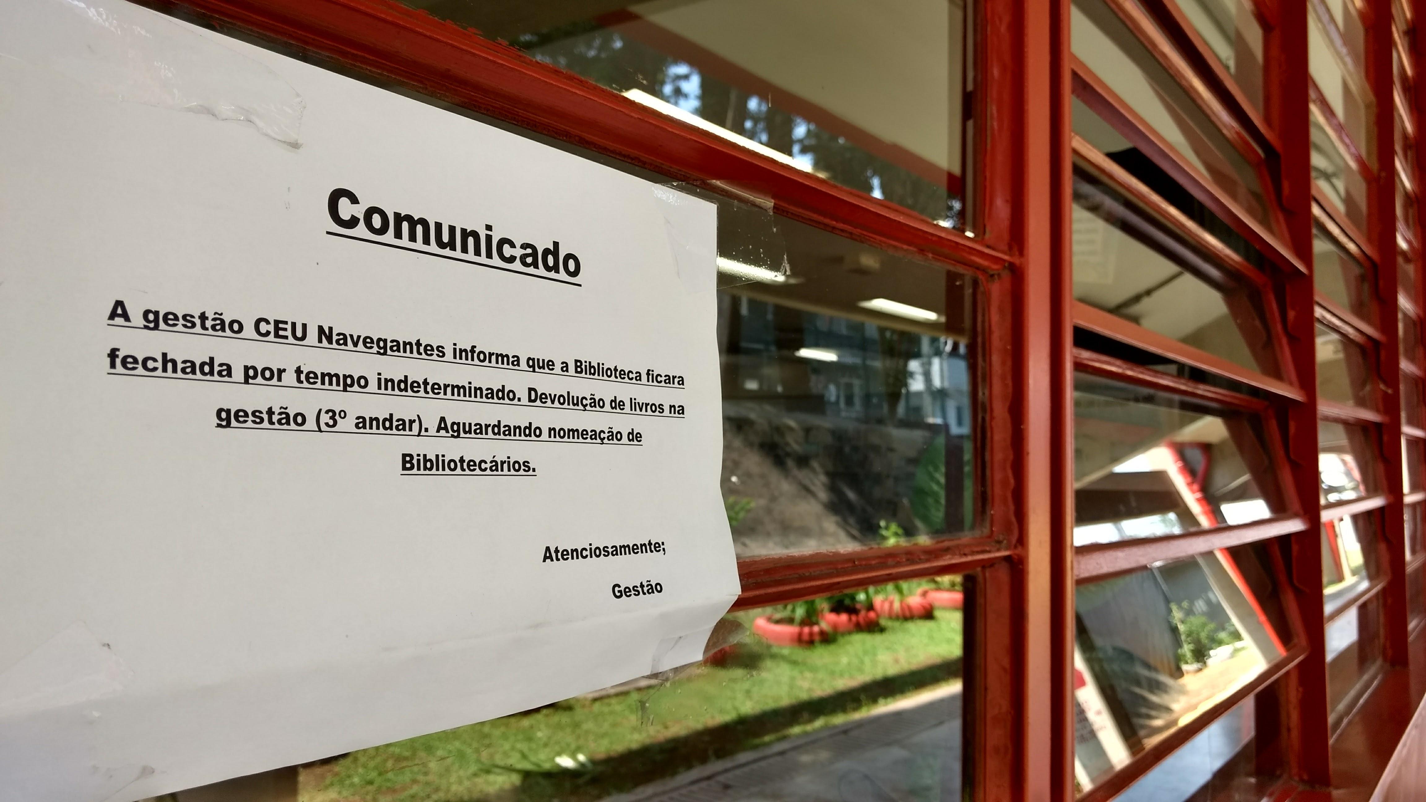Biblioteca no CEU Navegantes está fechado