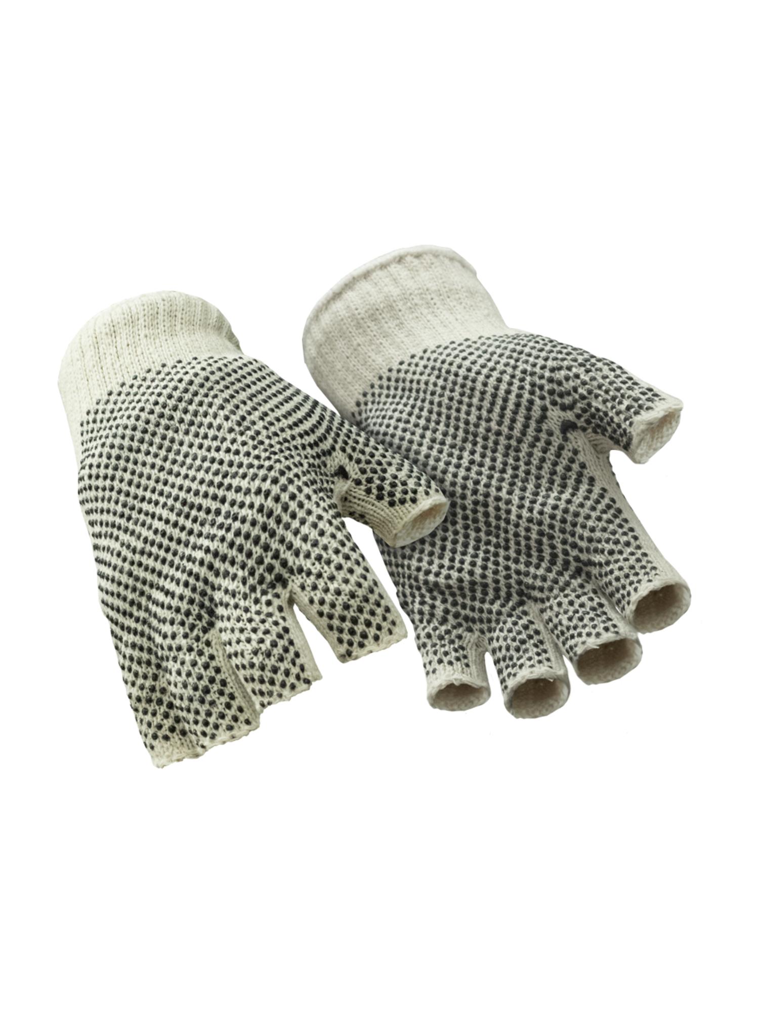 RefrigiWear™ Fingerless Dot Grip Glove , Natural , Large , Polyester/Cotton