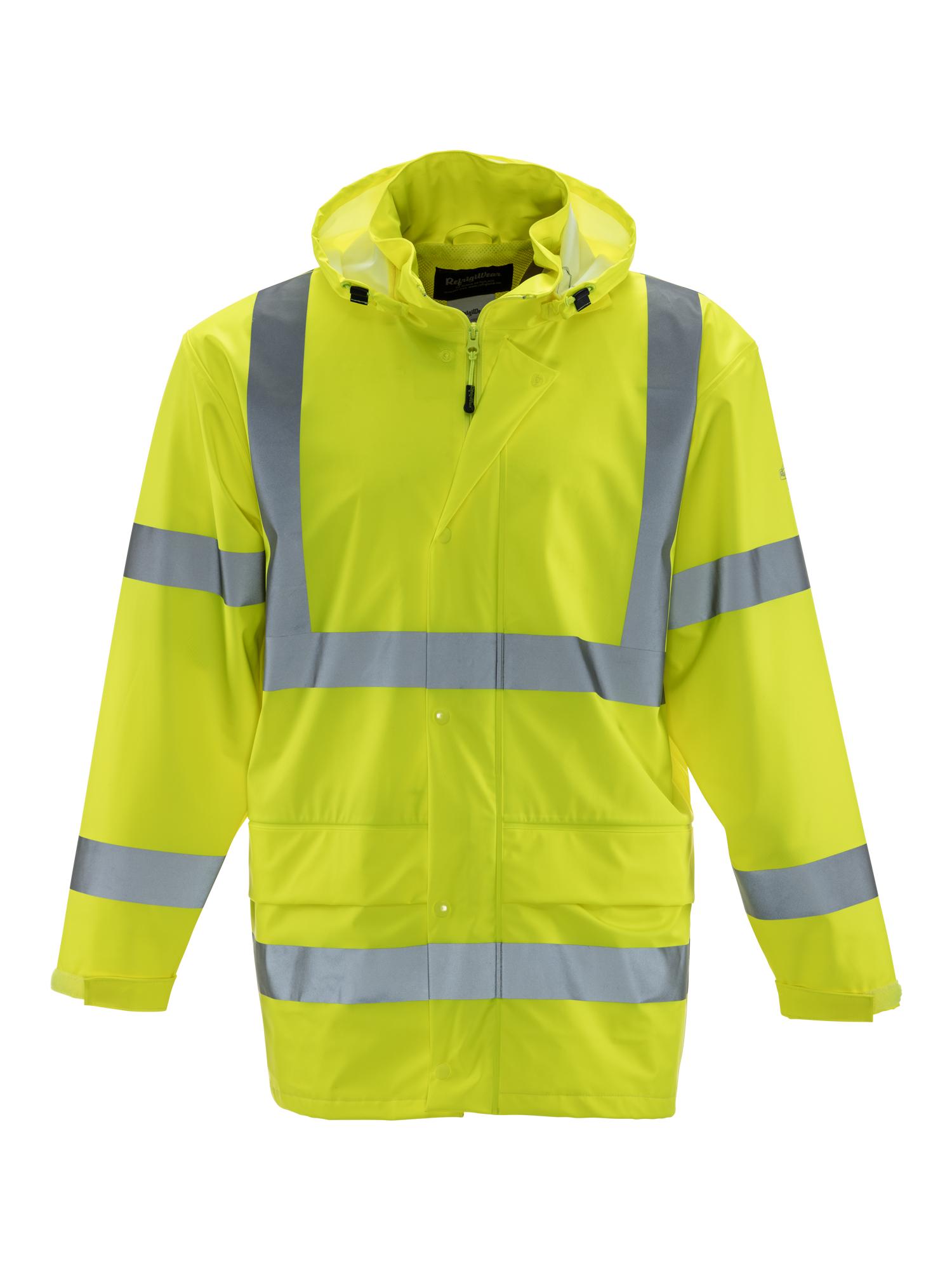 Refrigiwear | Hivis Lightweight Rainwear Jacket | Waterproof | Lime | Small | Regular | Polyester