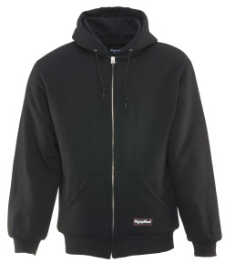 Thick hooded black sweatshirt with zipper and pockets