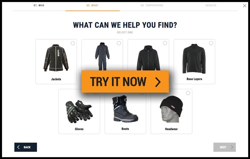 Gear Finder example page