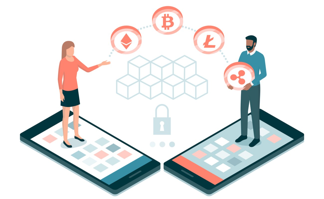 2 users making payments with cryptocurrencies and blockchains.