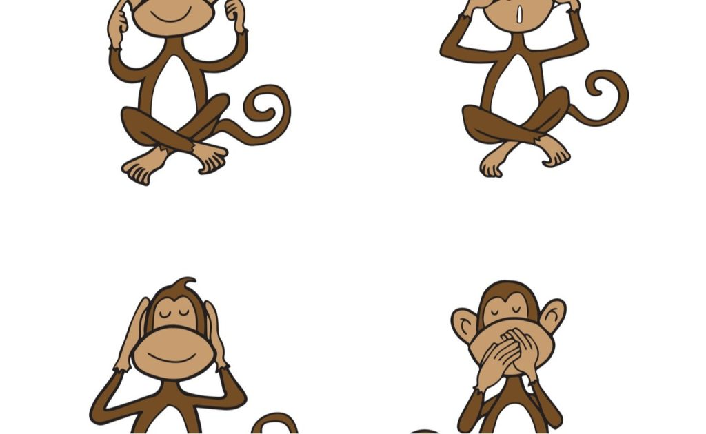 Vector illustration of Monkeys see no evil, hear no evil, speak no evil