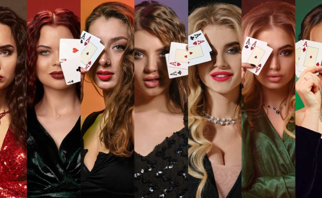 Collage of models in dresses and jewelry covering one eye by two playing cards, smiling and posing