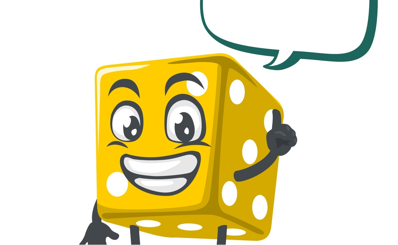vector illustration of dice character with blank balloon speech