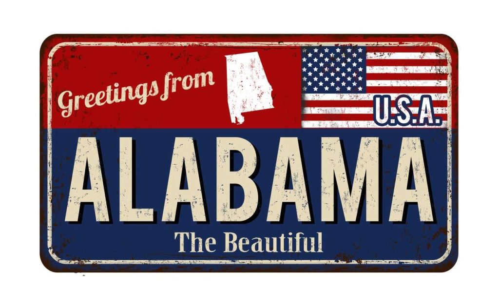 Greetings from Alabama vintage rusty metal sign vector illustration