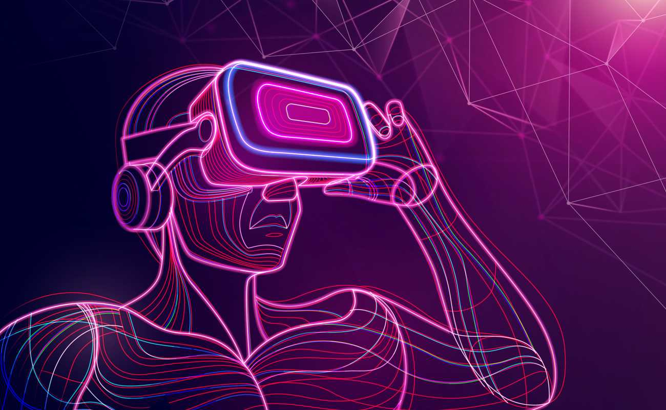 An illustration of a person made of neon lines using a virtual reality headset holding it with their left hand.