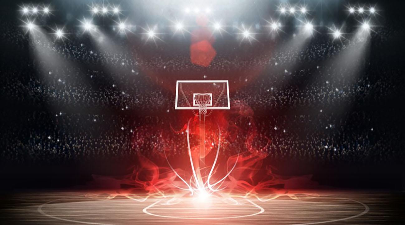 Basketball arena with red lighting