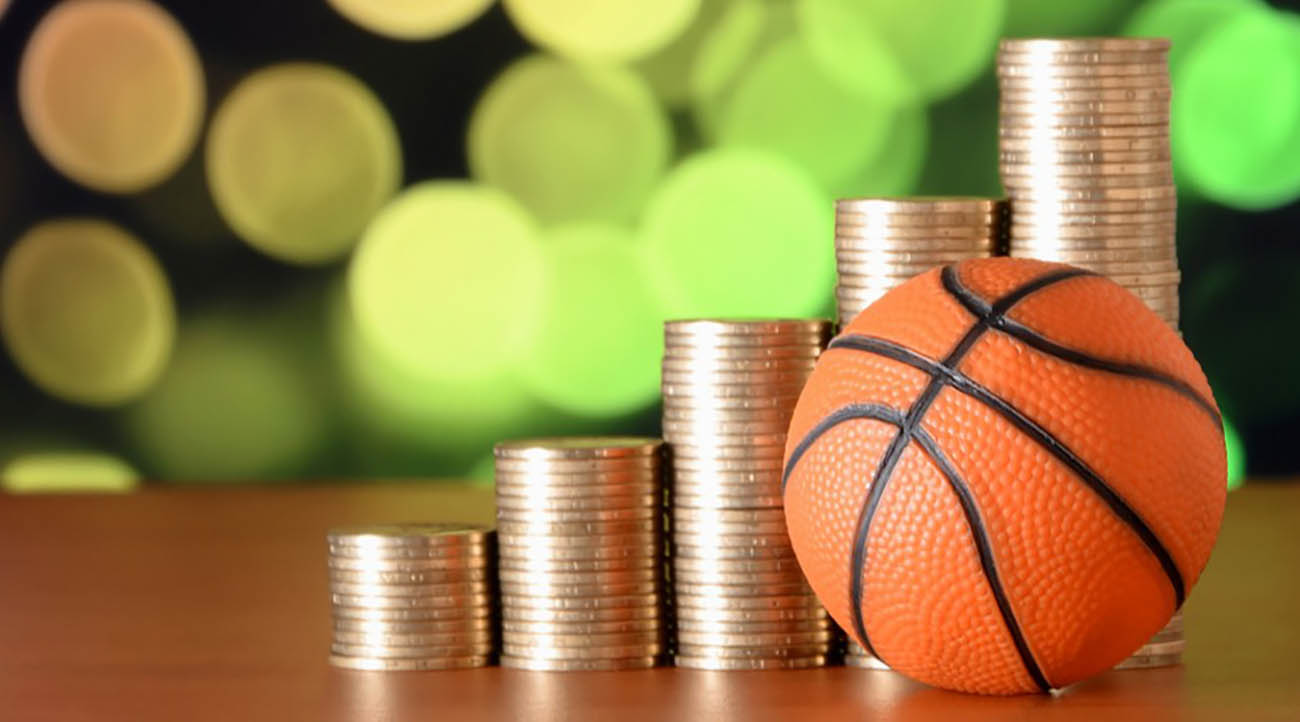 Mini basketball and coins