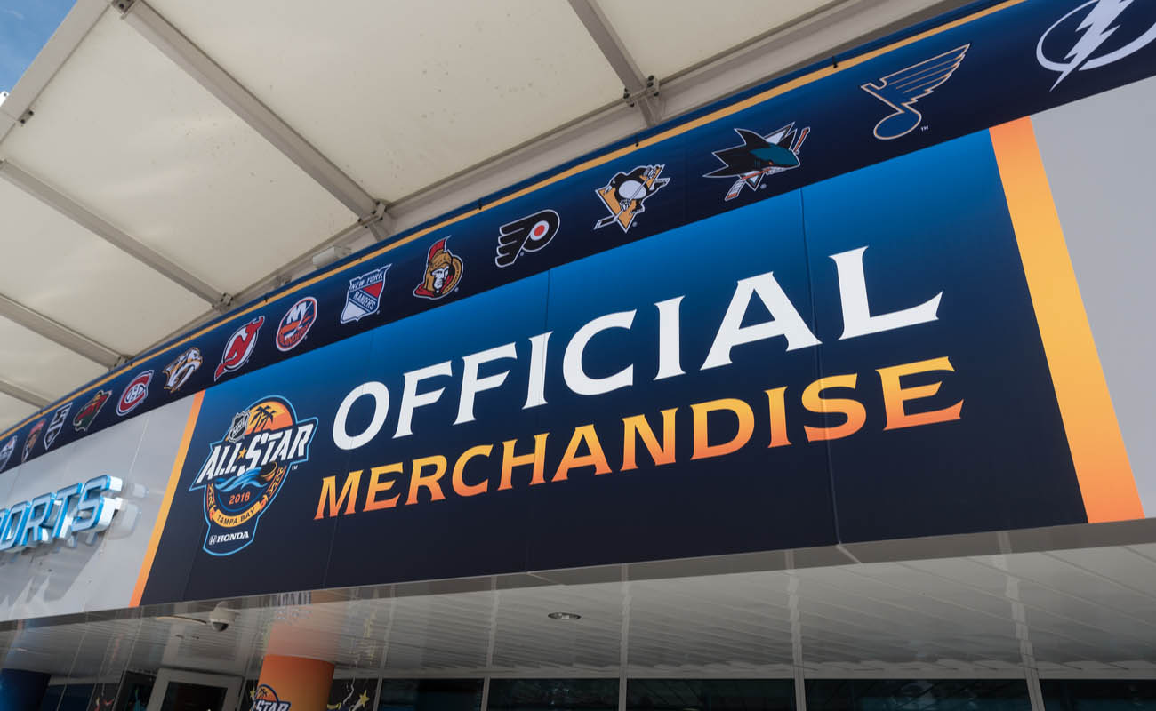 Outside of an official merchandise store during an All Star event for the NHL