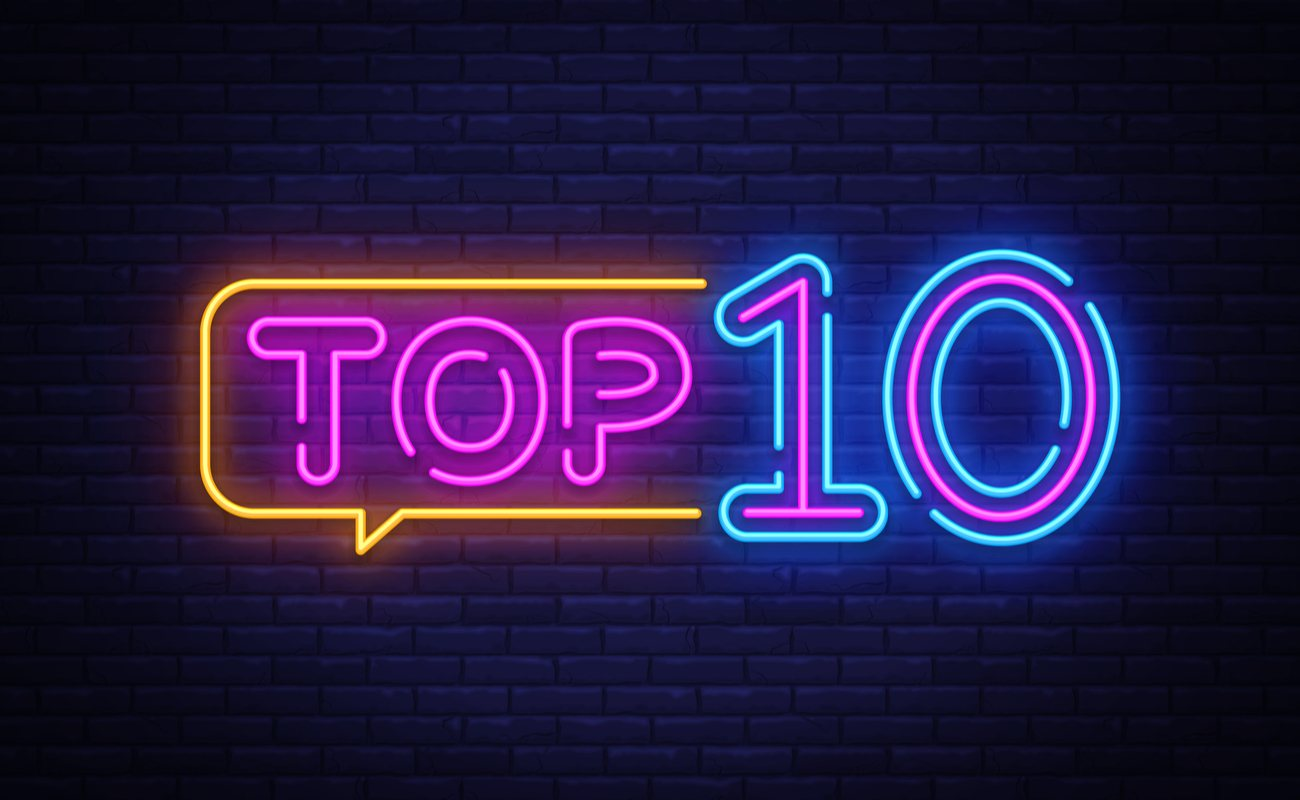 Top 10 neon sign on a brick wall