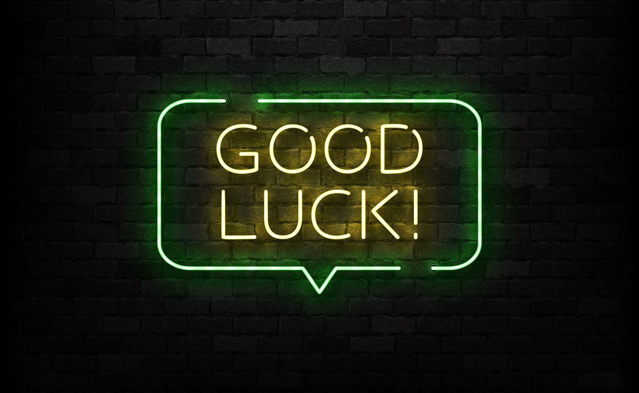 Neon sign of good luck logo