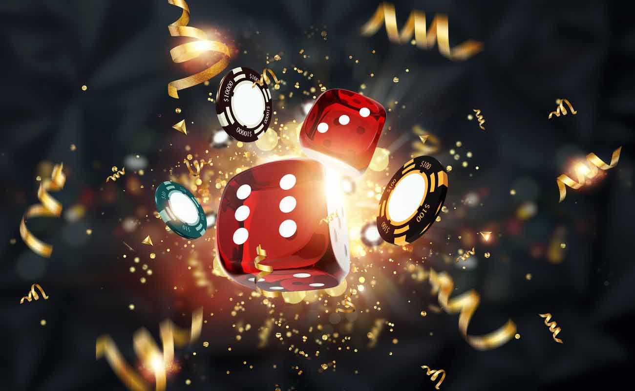 Gaming dice, cards, casino chips, roulette on a dark background.