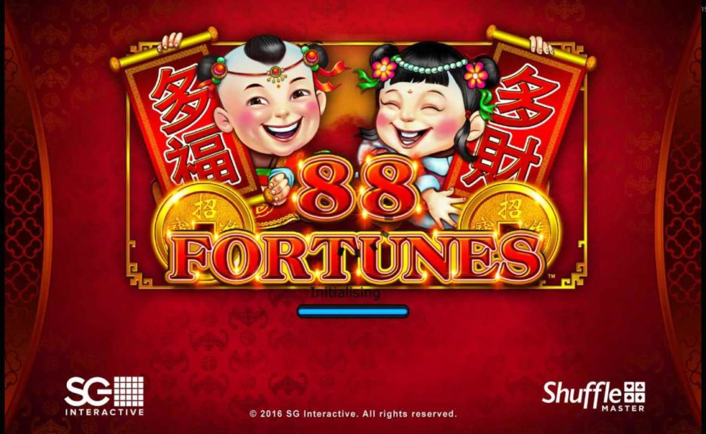 88 fortunes online slot casino game loading page on red background