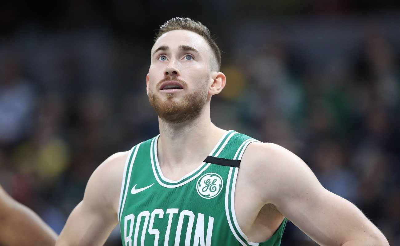 Gordon Hayward of Boston Celtics watches action against the Indiana Pacers at Bankers Life Fieldhouse