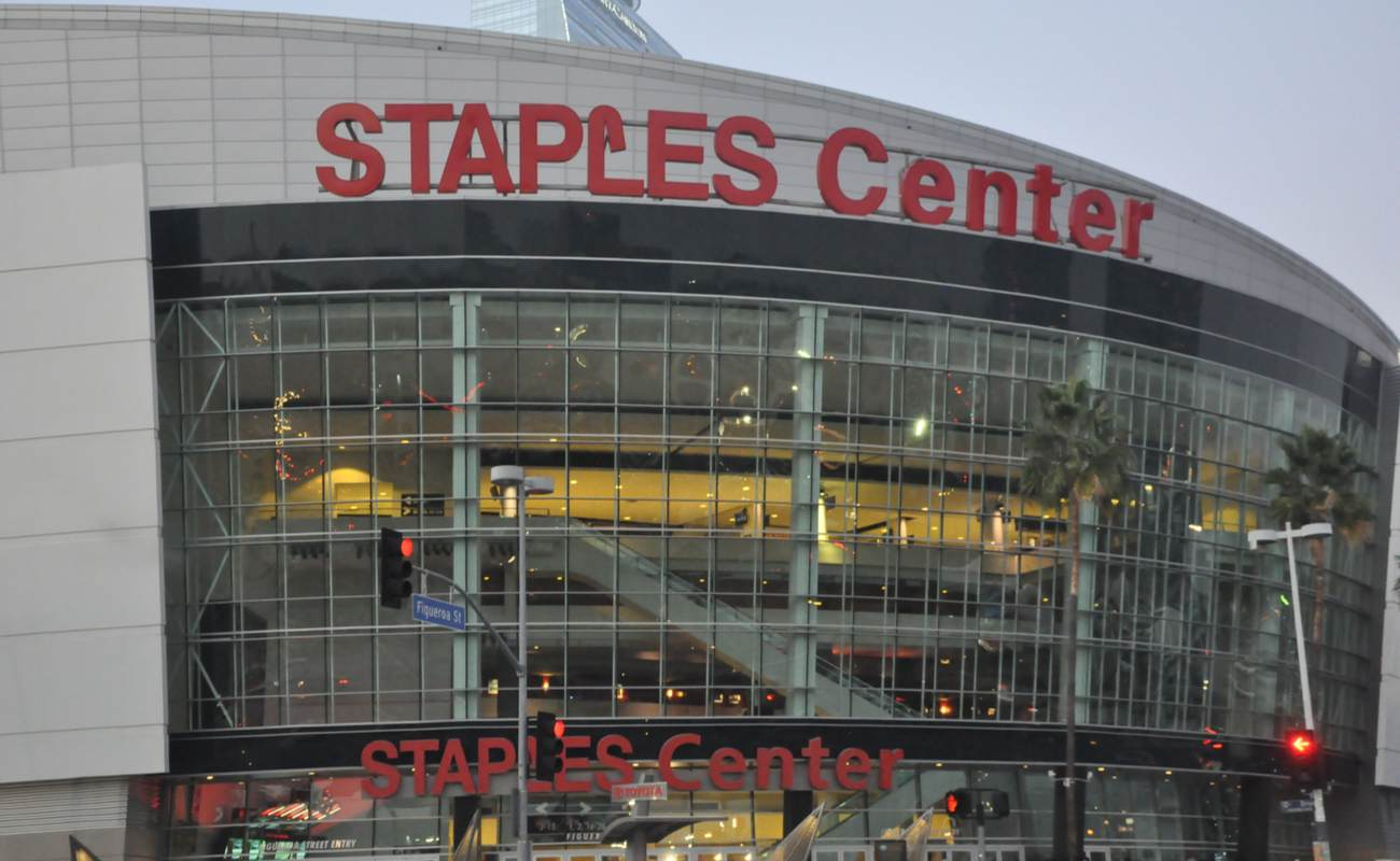 Outside Los Angeles Lakers' home arena Staples Center