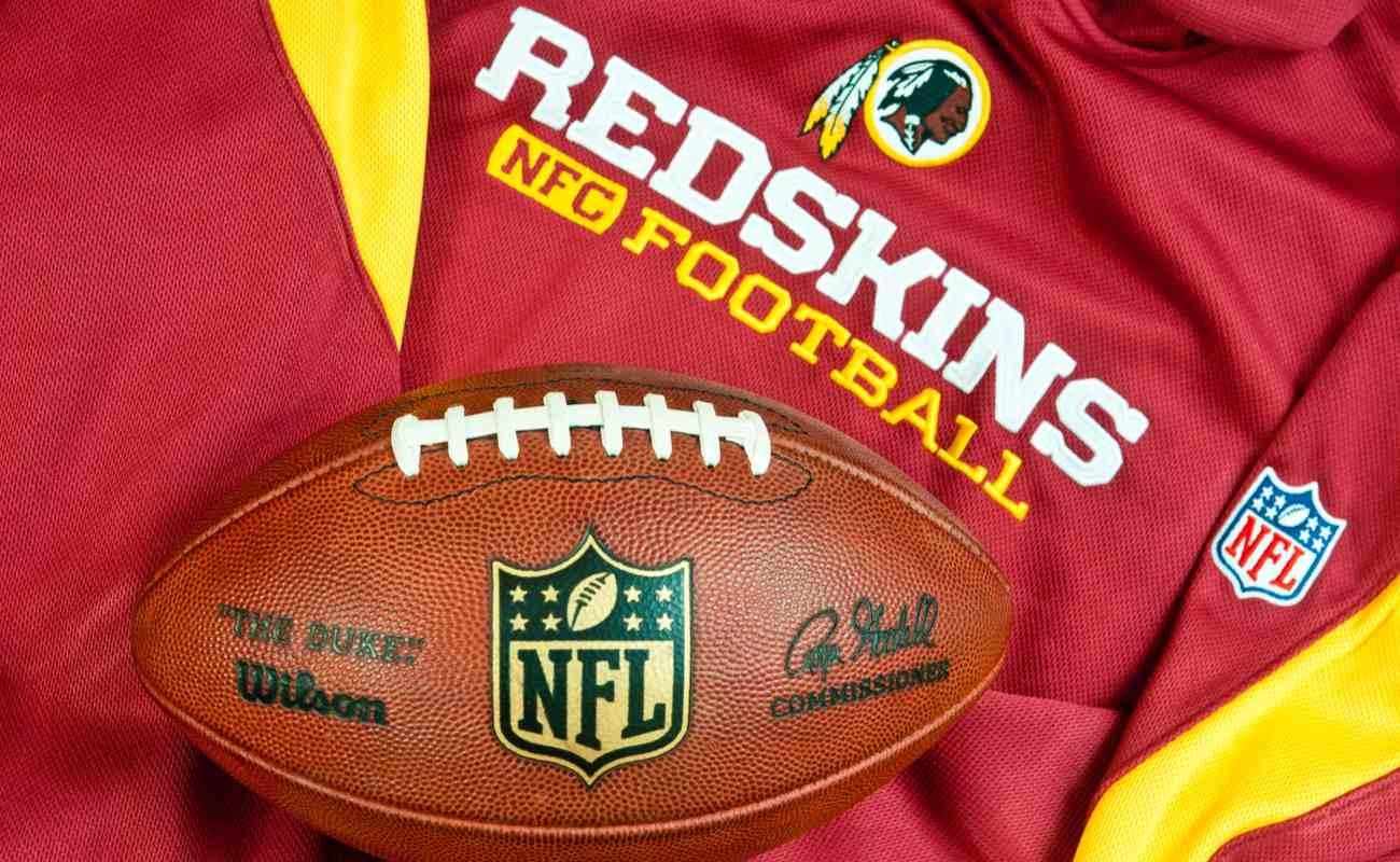 Washington Redskins merchandise with NHL football on top