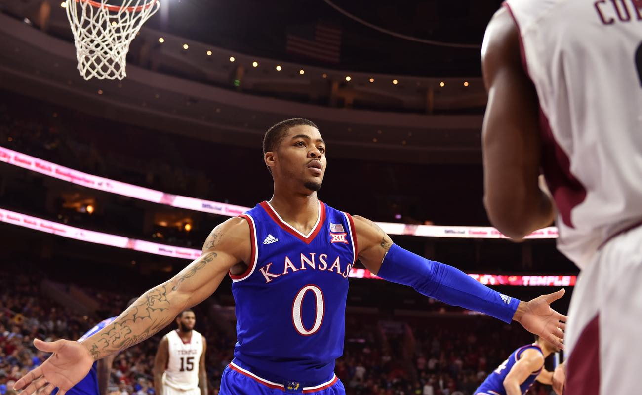Kansas Jayhawks guard Frank Mason III defends the inbounds pass