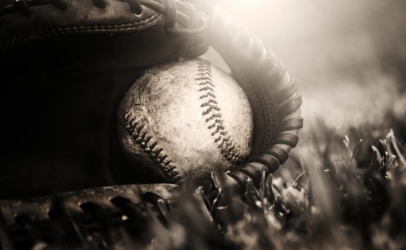Ball and baseball glove