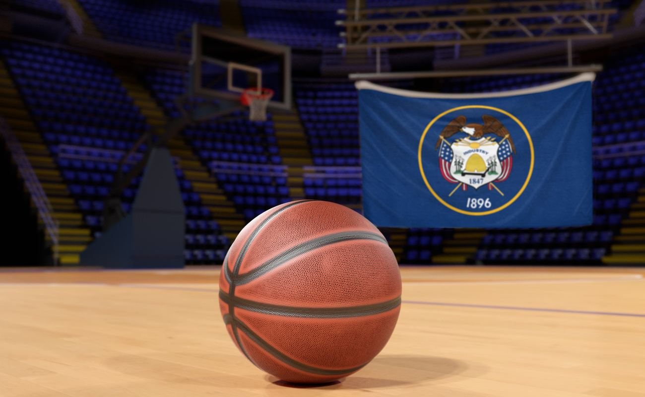 Utah state flag and basketball on Court Floor
