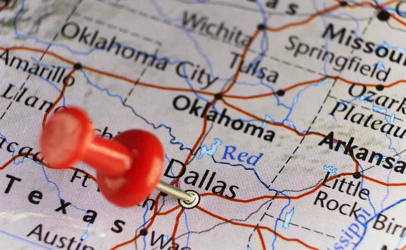 Map pinned at Dallas, Texas,