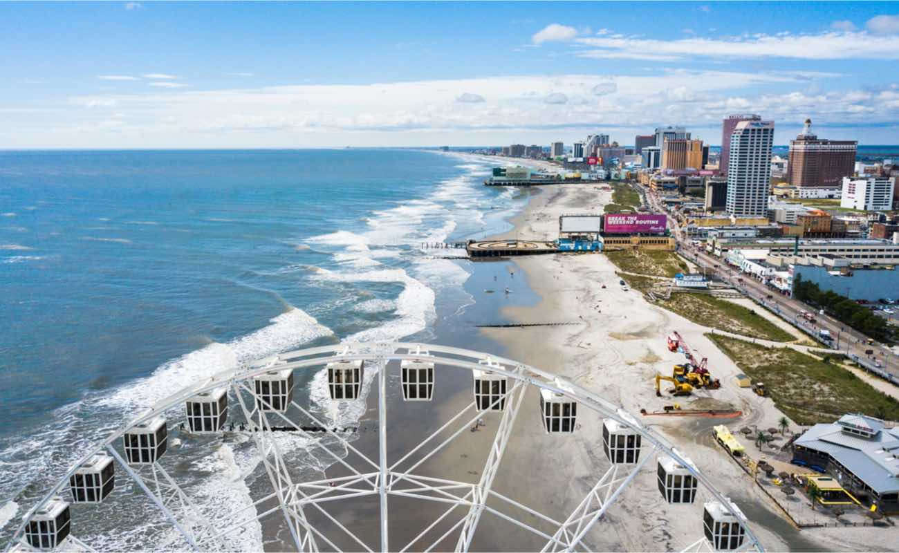 Atlantic City waterline aerial view of casinos and boardwalk