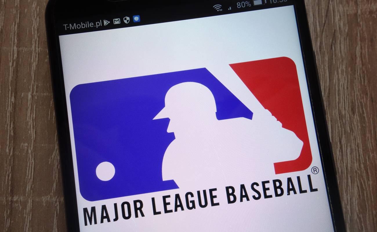 Major League Baseball logo displayed on a modern smartphone