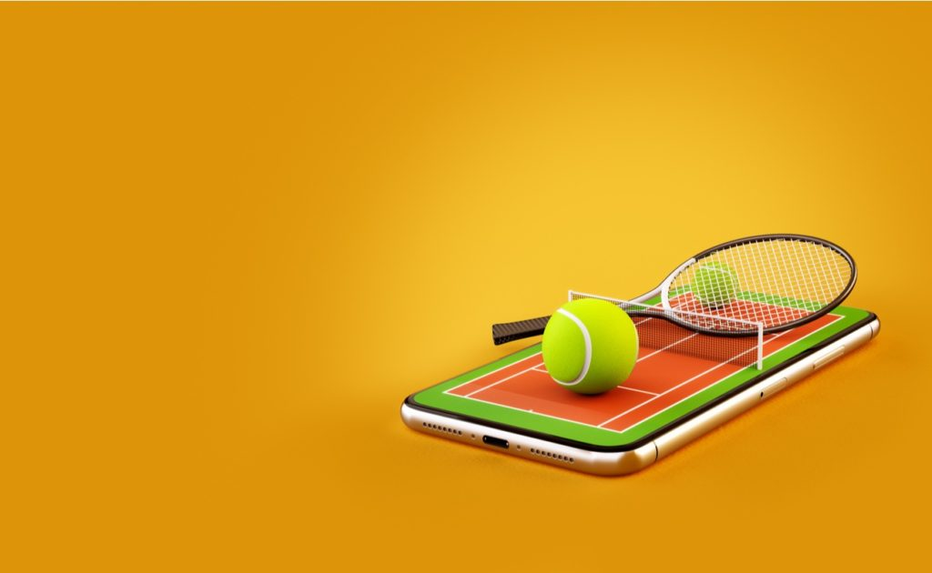 3d illustration of a tennis ball and racket on the court on a smartphone screen online betting concept