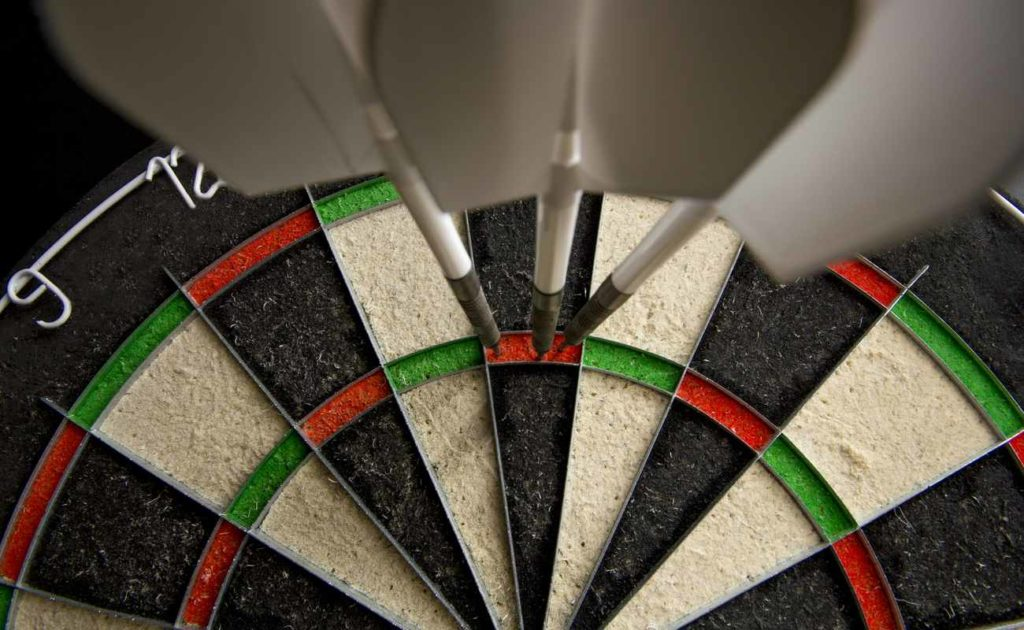 Dartboard with three darts